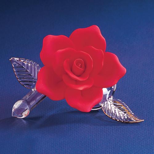 Red Porcelain Rose Glass Figurine GL854
