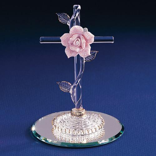 Cross with Pink Rose Glass Figurine GL881