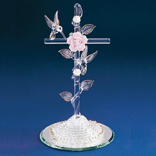 Cross with Hummingbird Glass Figurine GL888