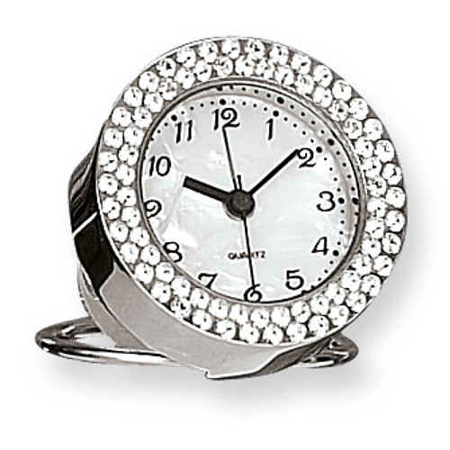 Silver-tone Swarovski Crystal Round Alarm Clock GM5089