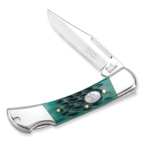 Little Warrior Lockback Jade Green Bone Knife GM6419