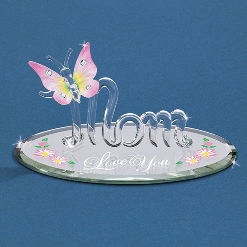 Mom with Butterfly Love You Glass Figurine GM6715