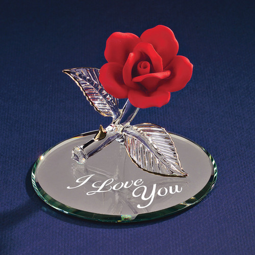 Red Rose I Love You Glass Figurine GP1125