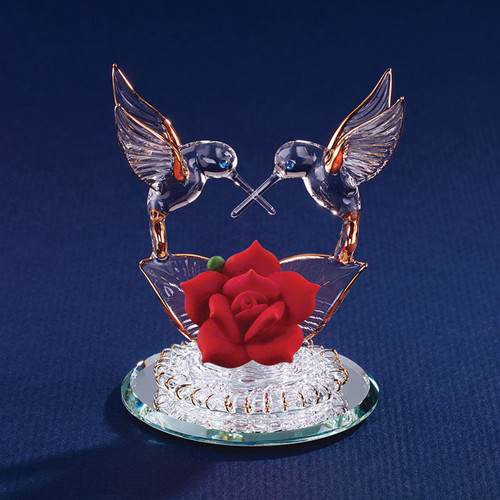 Hummingbirds & Red Rose Glass Figurine GP1129