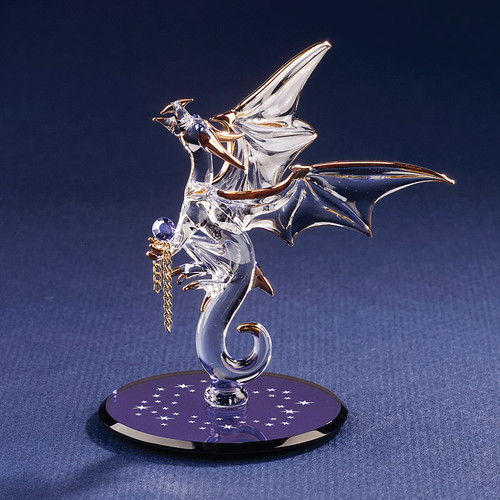 Dragon with Stars Crystal Accented Glass Figurine GP1140