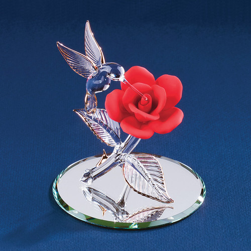 Red Rose with Hummingbird Glass Figurine GP1149