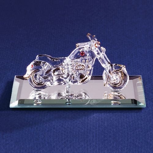 Motorcycle with Crystal Accents Glass Figurine GP1162