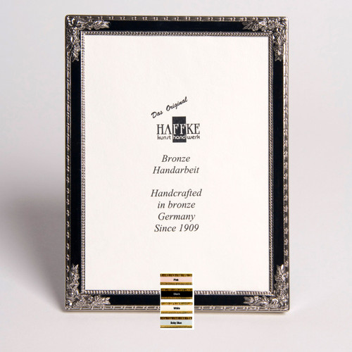 Haffke Silver Enamel Picture Frame with Rose 3 x 5 Inch