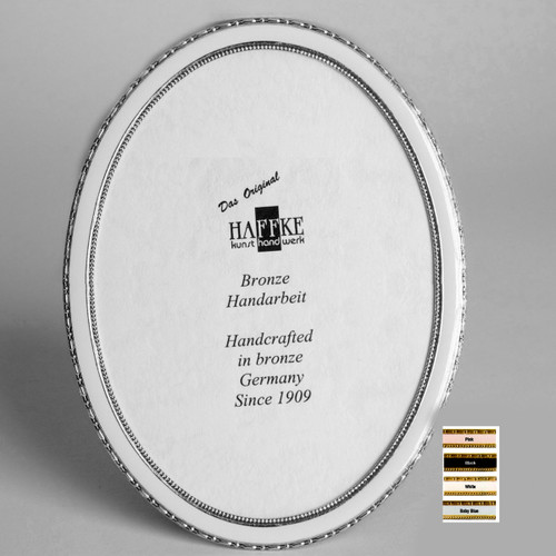 Haffke Silver Enamel Oval Picture Frame without Rose 2.5 x 3.5 Inch