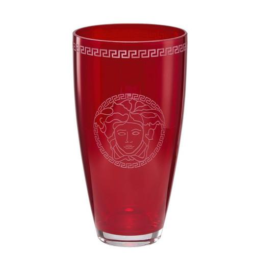 Versace Medusa Crystal Red Vase 12 Inch
