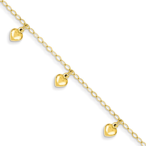 Child's Puffed Heart Charm Bracelet 14k Gold BID83-6
