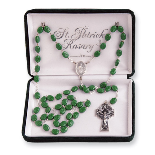 Green Saint Patrick Rosary Glass and Silver-plated GP899