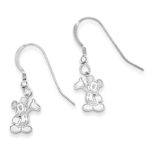 Disney Waving Mickey Dangle Wire Earrings Sterling Silver WD106SS