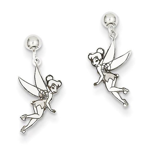 Disney Tinker Bell Dangle Post Earrings Sterling Silver WD255SS