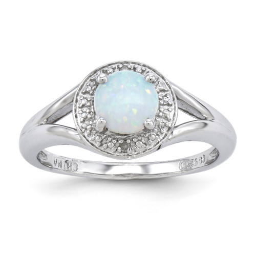 October Created Opal Ring Sterling Silver Diamond QBR11OCT
