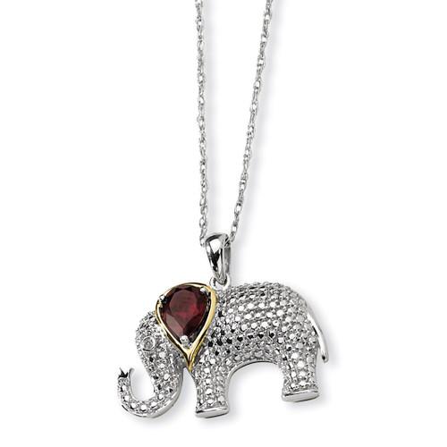 Garnet and Diamond Elephant Necklace Sterling Silver & 14K Gold QG2713