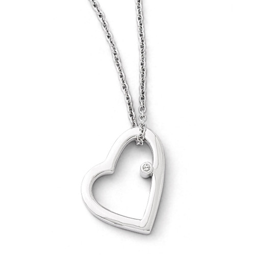.01ct Diamond Heart Necklace Sterling Silver QW154