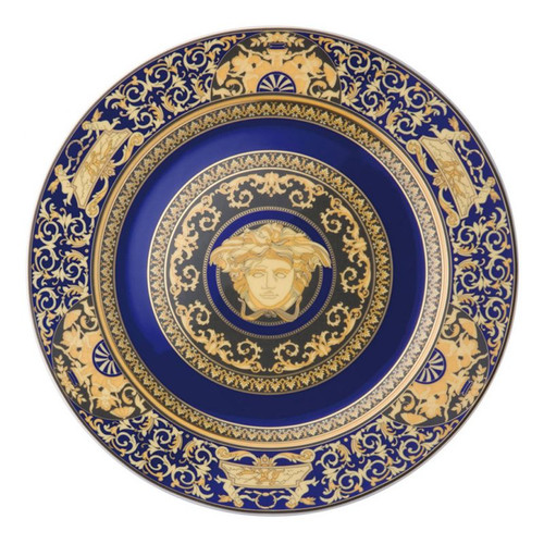 Versace Medusa Blue Wall Plate 12 inch Fully Decorated