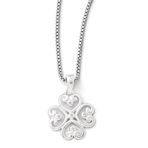 .01 Diamond Heart Necklace Sterling Silver QW337