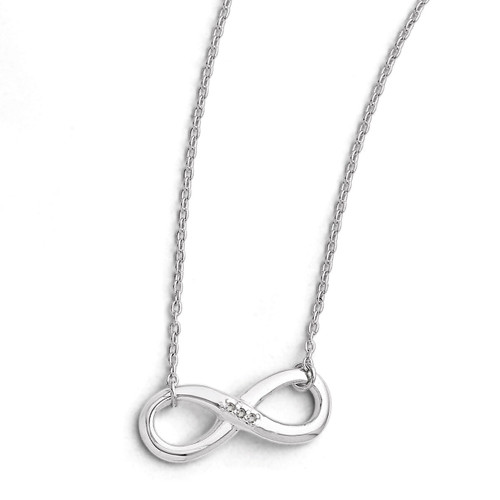 Infinity Diamond 2in ext. Necklace Sterling Silver QW346