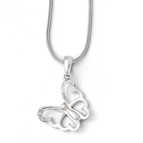 .01 ct Diamond Butterfly Necklace Sterling Silver QW383