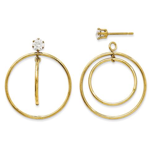 Double Hoop with Cubic Zirconia Earring Jackets 14k Gold YE1087 UPC: 730703050308