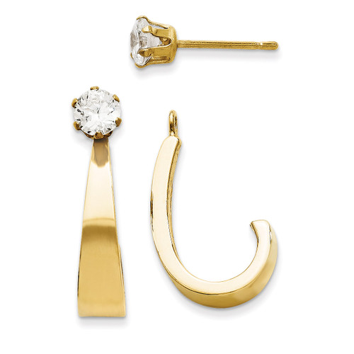 J Hoop with Cubic Zirconia Stud Earring Jackets 14k Gold YE1482 UPC: 730703610670