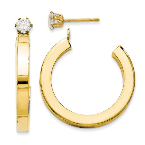 J Hoop with Cubic Zirconia Stud Earring Jackets 14k Gold Polished YE1489 UPC: 716838210121