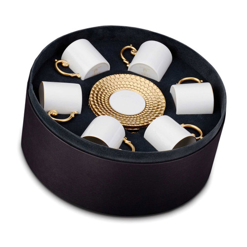 L'Objet Aegean Espresso Cup and Saucer Gift Box of 6 Gold