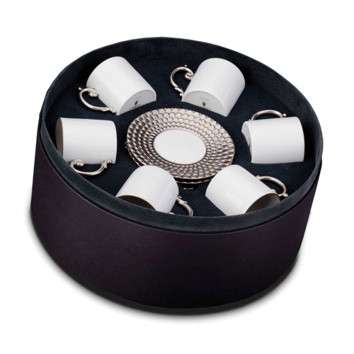 L'Objet Aegean Espresso Cup and Saucer Gift Box of 6 Platinum
