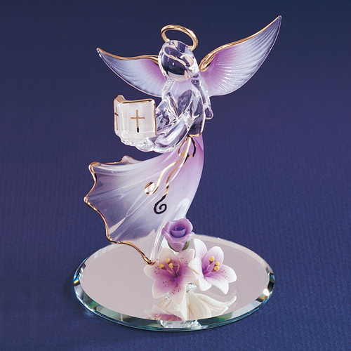 Lavender Angel with Bible Glass Figurine GL840