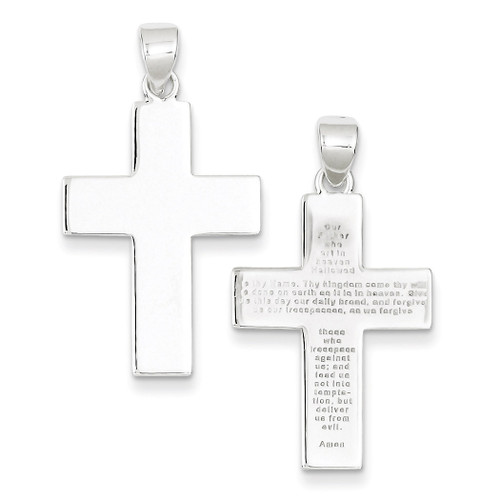 The Lords Prayer Cross Pendant Sterling Silver Polished QC6661