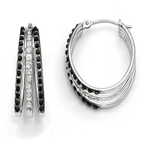 Triple Oval Hinged Hoop Earrings 14k White Gold Black Diamond DF222