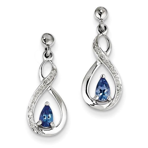 Tanzanite & Diamond Earrings Sterling Silver QDX983