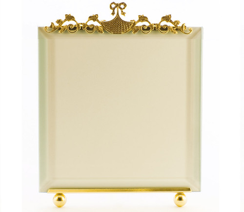 La Paris Basket And Flowers 5 x 5 Inch Brass Picture Frame