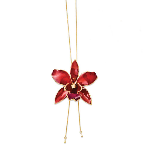 Red Cattleya Orchid Adjustable Necklace Lacquer Dipped BF2013