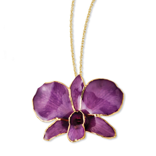Purple Dendrobium Orchid Necklace Lacquer Dipped Gold Trimmed BF2020-20