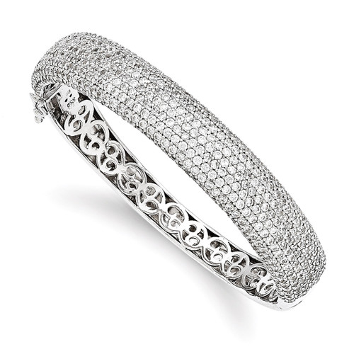 504 Stone Diamond Hinged Bangle Sterling Silver Pave Rhodium-plated QB668