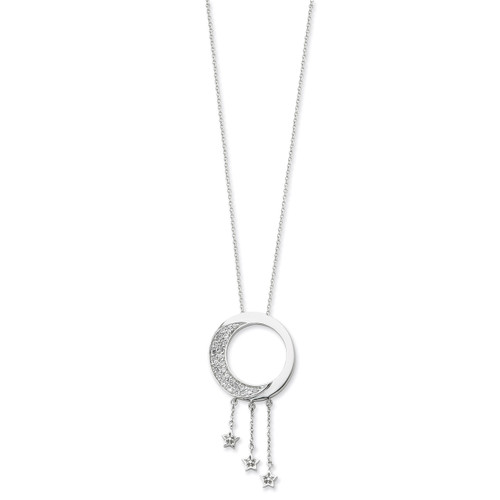 I Promise You the Moon and Stars 18 Inch Necklace Sterling Silver with Diamonds QSX210