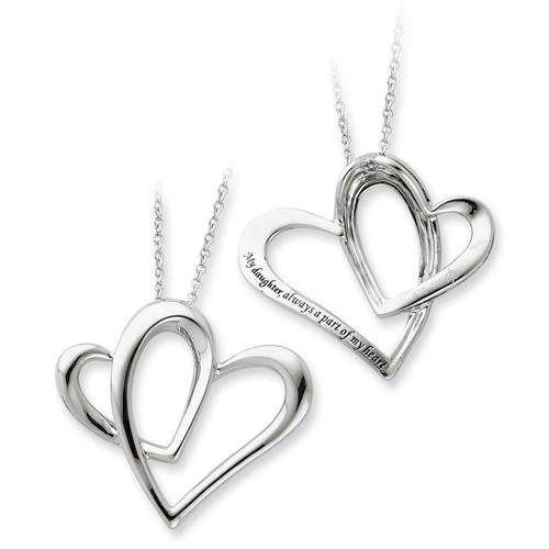 Daughter A Part of My Heart 18 Inch Necklace Sterling Silver QSX247
