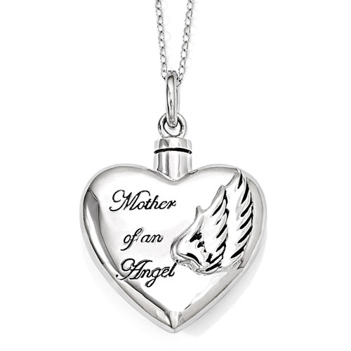 Mother of an Angel Ash Holder 18 Inch Necklace Sterling Silver QSX571