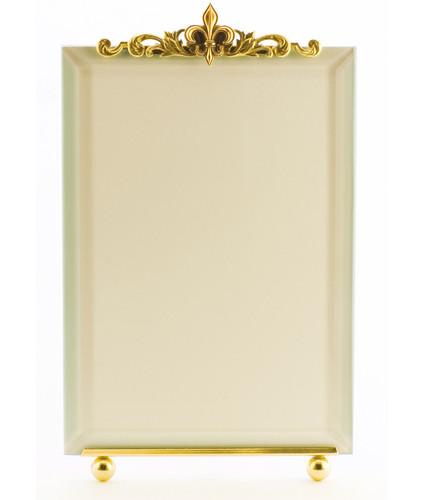 La Paris Fleur-De-Lis 3.5 x 5 Inch Brass Picture Frame - Vertical