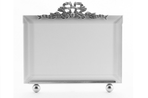 La Paris French Ribbon 8 x 10 Inch Silver Plated Picture Frame - Horizontal
