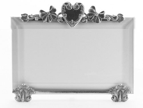 La Paris Heart And Bows 4 x 6 Inch Silver Plated Picture Frame - Horizontal