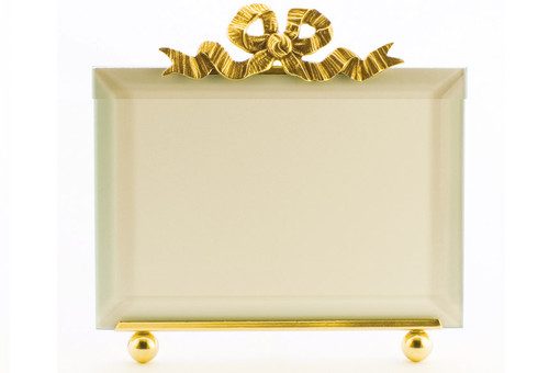 La Paris Large French Bow 4 x 6 Inch Brass Picture Frame - Horizontal