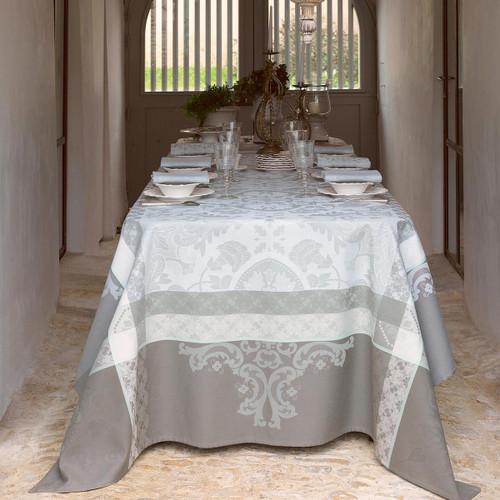 Le Jacquard Francais Azulejos Grey Tablecloth 69 x 69 Inch