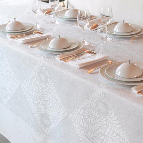Le Jacquard Francais Bosphore Blanc White Tablecloth 69 x 126 Inch