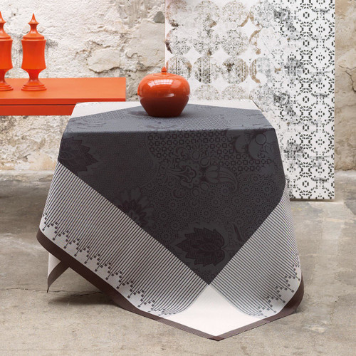 Le Jacquard Francais Palais Persan Charcoal Tablecloth 69 x 69 Inch