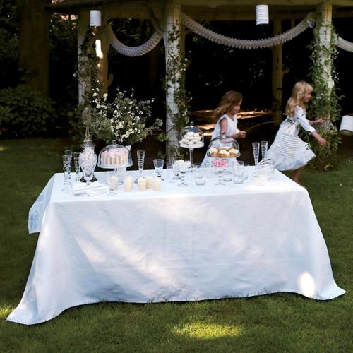 Le Jacquard Francais Siena Blanc White Tablecloth 69 x 149 Inch