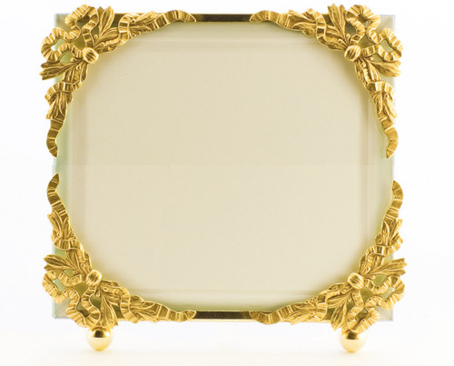 La Paris Ribbon Corners 3.5 x 5 Inch Brass Picture Frame - Horizontal